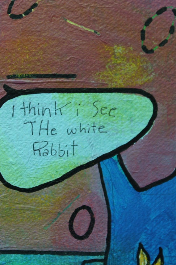 "Hand Painted on Cotton Paper ""White Rabbit"" -Carrie Disrud"