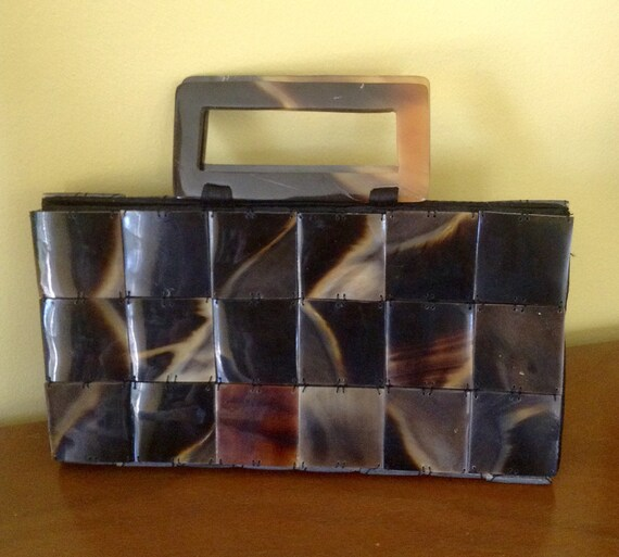 Vintage Lucite tile hand bag purse - image 1