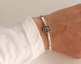 Flower cuff bracelet - sterling bracelet flower cuff bracelet- spring cuff bracelet - 925 solid sterling silver bracelet