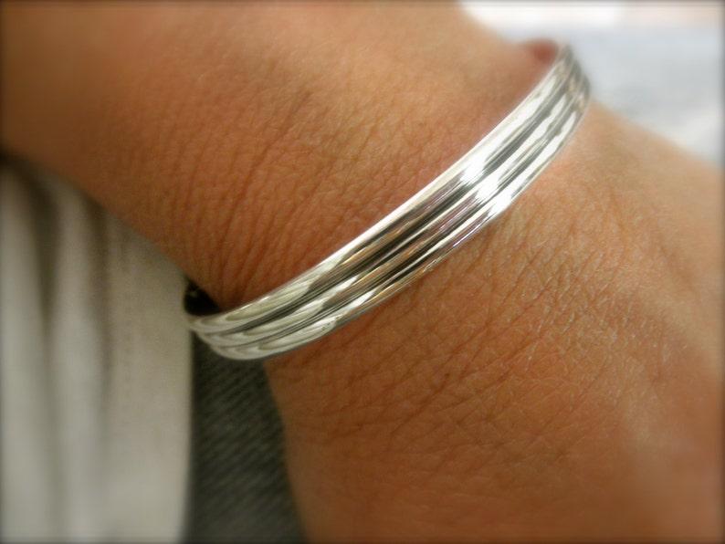 Sterling silver cuff bracelet striped pattern  solid 925 image 1