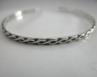 Infinity design sterling silver cuff bracelet - skinny cuff - skinny sterling silver cuff - pattern cuff bracelet - solid 925 sterling