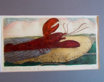 LOBSTERS TONIGHT is an original etching by Parks Beach