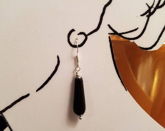 Earrings Black Onyx Drops with Sterling