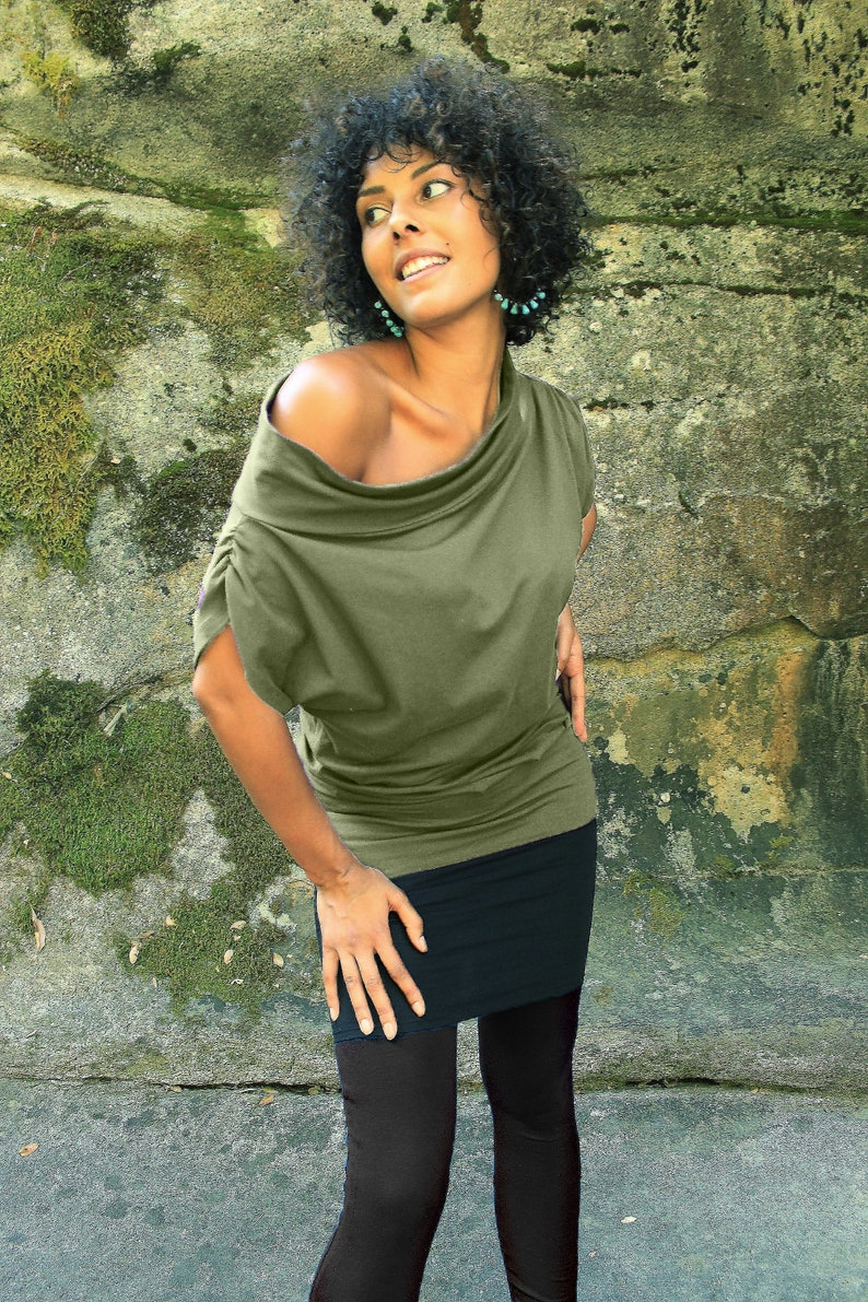 Forgiving tops Relaxed Shortsleeve tops for leggings Off the Shoulder Top Sage Green tops Women/'s Clothing Cold Shoulder Blouse Green