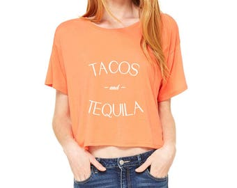 Tacos and Tequila Cropped Boxy Tee in Coral
