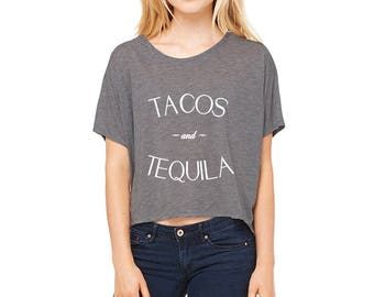 Tacos and Tequila Cropped Boxy Tee in Heather Charcoal Grey