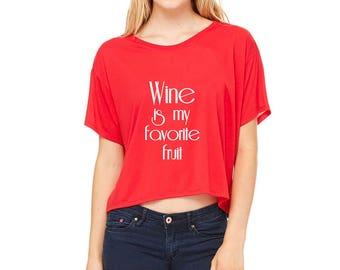 Wine is My Favorite Fruit Cropped Boxy Tee in Red