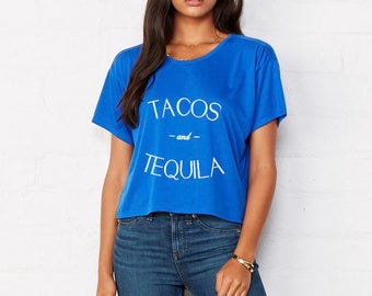 Tacos and Tequila Cropped Boxy Tee in Royal Blue