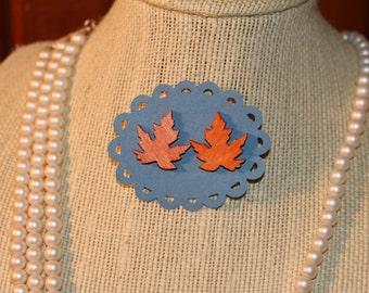 Fall Leaf Pressboard Post Earrings - holidays, gift, seasonal, orange, oak leaf, maple leaf, halloween, thanksgiving
