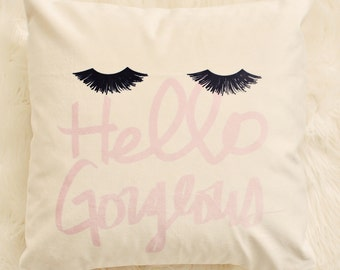 96dd8e82963 Glam Eyelashes Velveteen Pillow Cover 18 x 18, Eyelashes Style Statement,  Pillow Decor, Handmade Throw Pillow Cover