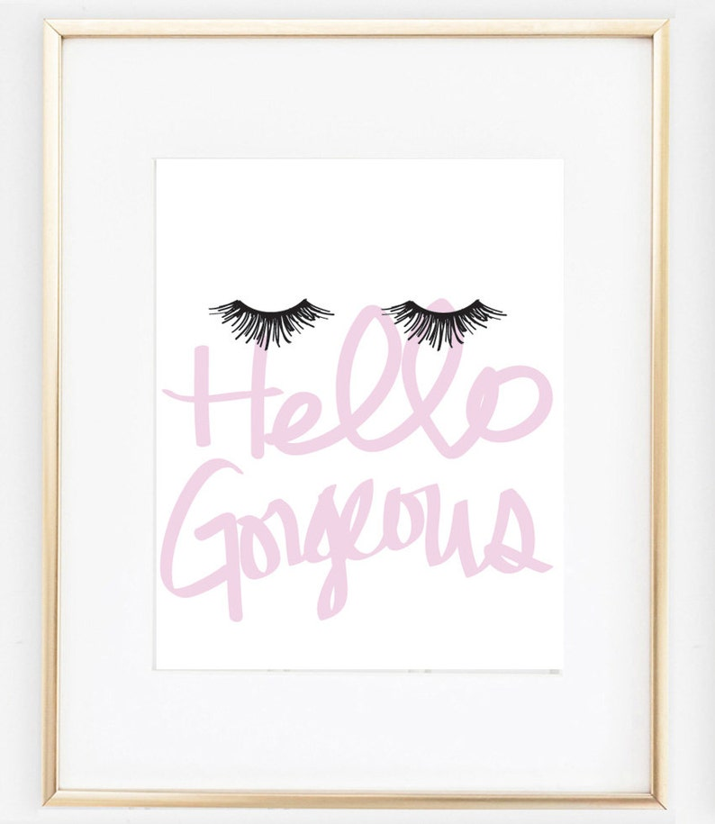 e239e15895c Eyelash Art Makeup Poster Hello Gorgeous Print Makeup Print | Etsy