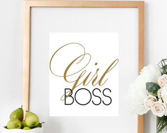 Girl Boss Typography Print Inspiring Quote Motivational Art Office Wall Poster Home Decor