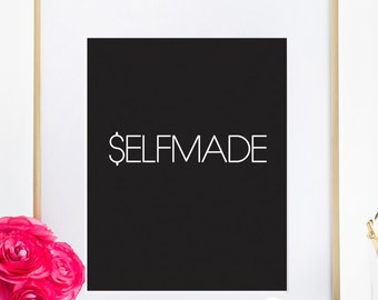 Selfmade Motivating Fashion Typography Art, Inspirational Bedroom Poster Home Wall Print office Decor