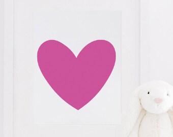 Cute Pink Heart Wall Print Love Print Girl Bedroom Decor Nursery Home Decor