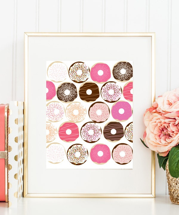 Decorative Kitchen Accessories Uk: Kitchen Art Print Donuts Home Decor Pink Macaroons