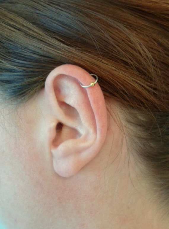 Sterling Silver 10mm Pierced Ear Ball Charm Wire Band Ring Ear Cuff