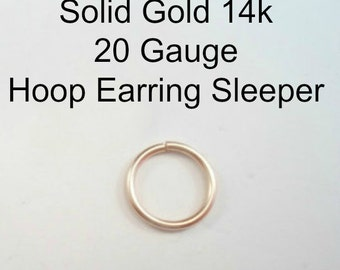 Yellow Gold 14k solid, not plated or filled Hoop Earring 20 ga Cartilage Tragus Helix Nose Ring Small Tiny Catchless Seamless Little Sleeper
