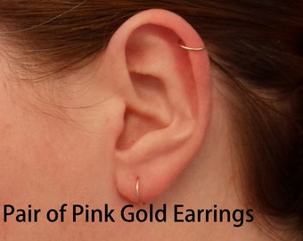 Pink Rose Gold Hoop Earrings PAIR Cartilage Tragus Helix Eyebrow Nose Ring Small Tiny Catchless Seamless Little Sleeper Hypoallergenic