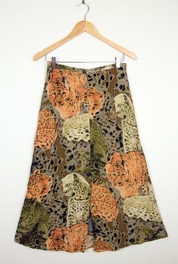 1990s Carole Little Leopard Print Button-Front Ski