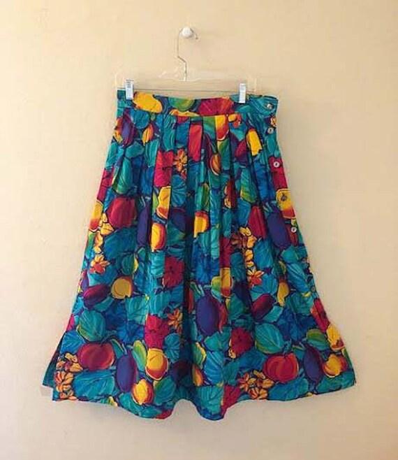 Vintage 1990s Jaeger Fruit and Leaf Print Skirt
