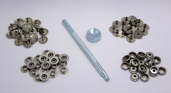 Snap Fastener Kit With 20 Snaps And Setting Tool For Thicker Materials