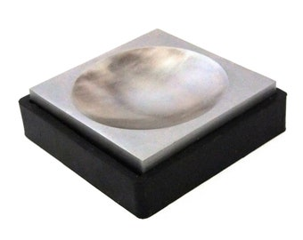 """4"""" Double Sided Steel Dapping Bench Block With Large Sphere Impression With Rubber Base"""