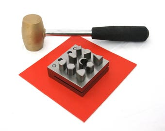 Disc Cutter With 9 Punches Assorted Shapes Series Number 9 With Hammer And Pad Kit