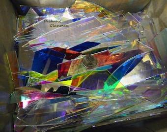 Dichroic Borosilicate Glass Scrap Mosaic, Lighting, Stained Glass, Kaleidoscope, Scientific 5 pounds