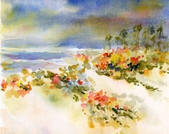 Original Seascape Watercolor Painting by ConnieTownsArt,  Ocean Wall Decor, Ocean Art