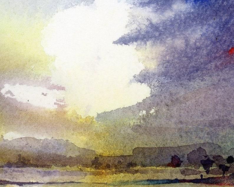 Dramatic Wall Art Dramatic Sky Painting Coastal Wall Decor Fine Art Print from Original Watercolor Painting by Connietownsart