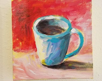Cup o' Java 2 - an original acrylic painting by connietownsart, coffee cup art, small acrylic painting