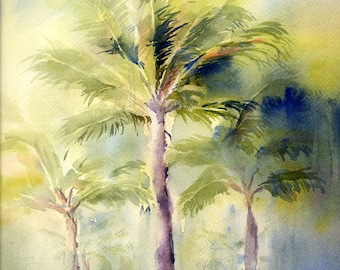 Palm Trees Art Watercolor Painting Print by ConnieTownsArt, Watercolor Palm Tree, Tropical Art