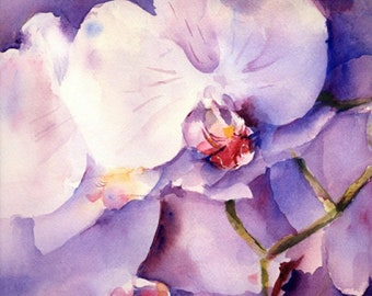 Orchids Watercolor Painting Print by Connietownsart, Floral Watercolor, Orchid Art, Gift for Her