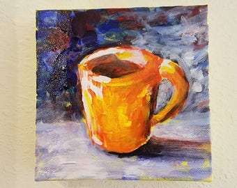 Coffee Cup Paintings, Original Painting Coffee by Connietownsart, Acrylic Painting Cup of Coffee, Coffee Cup Art