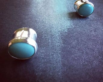 00 Turquoise Plugs ~ Turquoise Plugs ~ Silver Plugs ~ 00 Plugs ~ Plugs