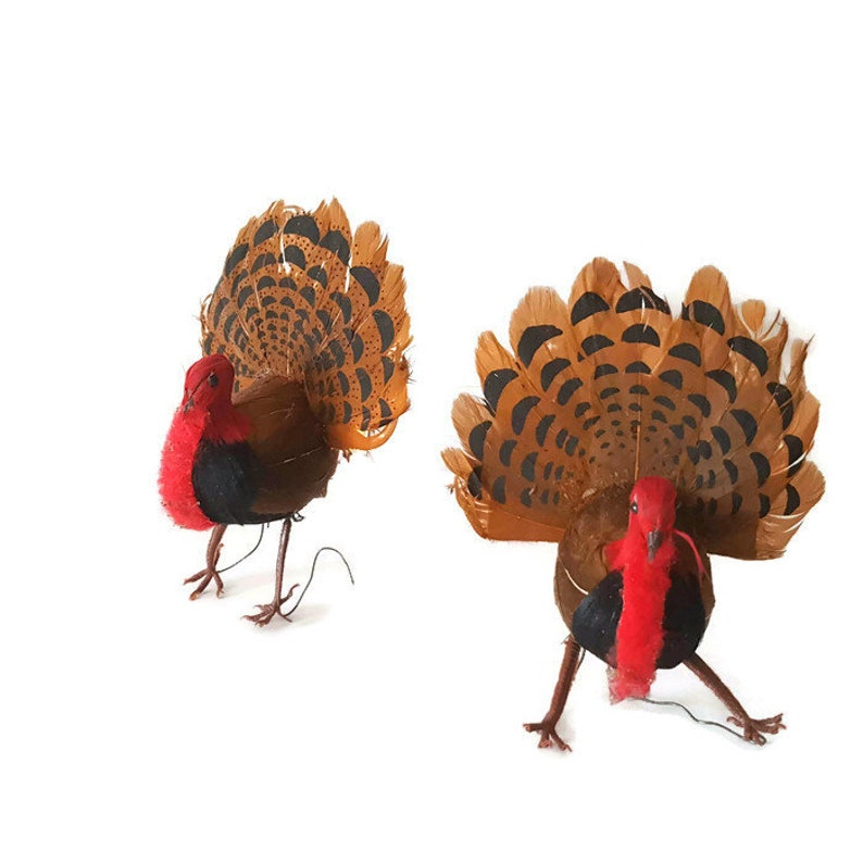201384900deed 2 vintage turkey ornaments made with real feathers