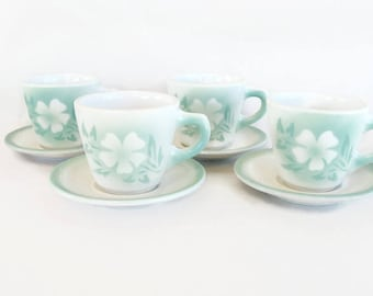 Syracuse restaurant ware midcentury green airbrush flowers 4 cups and saucers Millbrook