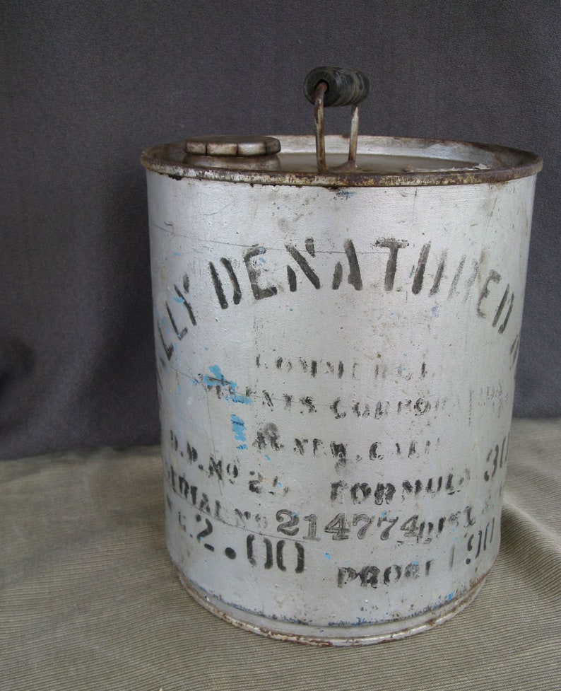 specially denatured alcohol 2 gallon metal can, 1930's