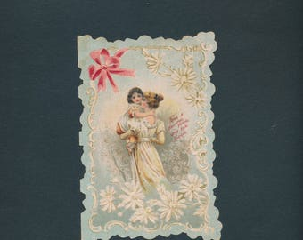 Victorian greeting card, die-cut mother and child, faithful friend