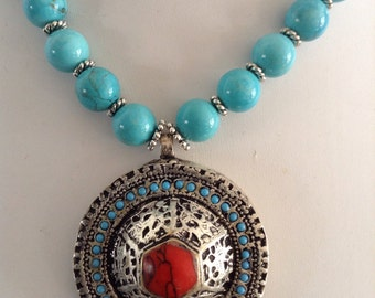 Turquoise Necklace with Tibetan Pendant