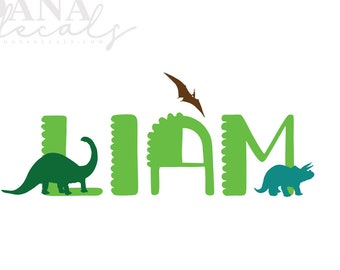 Personalized Dinosaur Name Vinyl Wall Decal with Dinosaurs - Ideal for Playrooms, Nursery Decor, Themed Kid's Rooms, Monogram, Brontosaurus