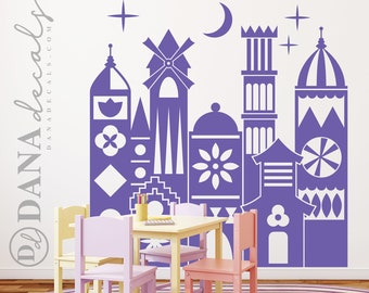Large Wall Kid's Room Whimsical Small Village World with Stars and Moon - Wall Art Vinyl Decal for Play rooms, Day Care, Schools, Nursery