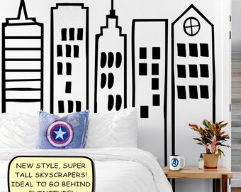 Large Over-sized Doodled City Skyline Skyscrapers - Wall Vinyl Decals for Kid's Rooms, Play rooms, Day Care, School, Superhero Room