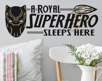A Royal Superhero Sleeps Here - Wall Decal Custom Vinyl Art Stickers