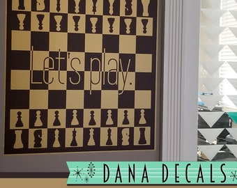 Let's Play. - Chess Game Board - 2 color - Wall Decal Custom Vinyl Art Stickers