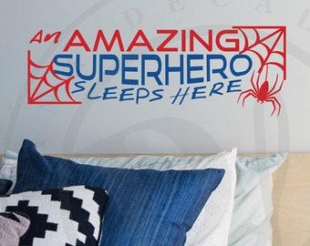 An Amazing Superhero Sleeps Here - Hero Kid's Room Wall Decal Quote Custom Vinyl Wall Art for Boy's Room, Girls Room, Nursery, Room Decor