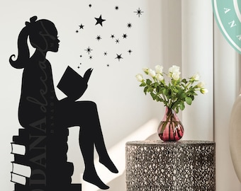 LARGE Size ORIGINAL Design Girl Reading Books Magic - Wall Decal Vinyl Art Stickers for Interiors, Schools, Classrooms, Libraries, Bedrooms