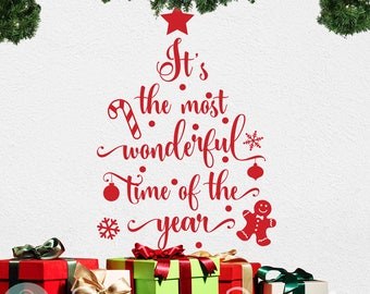 It's The Most Wonderful Time of The Year- Christmas Quote Winter Vinyl Decal Wall Sticker for Storefront Windows, Walls, Christmas Decor
