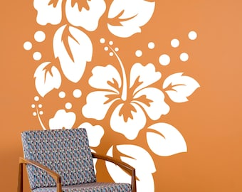 cc07afb098 Large Hibiscus Flowers Pattern - Wall Decal Custom Vinyl Art Stickers