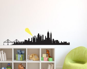 layered city skyline silhouette with city lights wall decal etsy